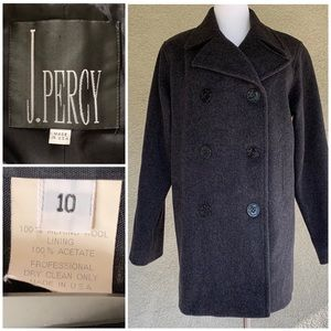 """J. Percy"" Charcoal Gray Moreno Wool Pea Coat"